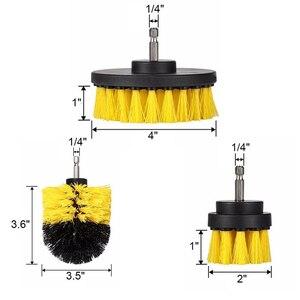 Image 3 - Perceuse électrique de nettoyage, pour cuir et plastique, intérieur de voiture, brosse de nettoyage, 3 pièces, 2/3, 5/4 pouces