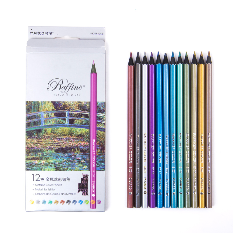 Metallic color pencil set Marco raffine fine art Black wood pencil metal Crayon painting drawing Stationery School suppliesMetallic color pencil set Marco raffine fine art Black wood pencil metal Crayon painting drawing Stationery School supplies