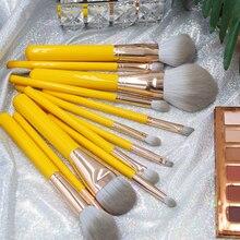 バレル 1 ピース高輝度黄色化粧ブラシパウダーファンデーションブラッシュリップ蛍光彫刻アイシャドーブレンディングブラシメイクアップツール