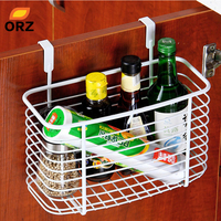 Creative Metal Over Door Storage Basket Practical Kitchen Cabinet Drawer Organizer Door Hanger Storage Basket With