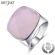 MetJakt, натуральный квадратный камень, 21.24ct, розовый кварц, кольцо, твердые, 925 пробы, серебряные кольца для женщин, для случаев, хорошее ювелирное изделие
