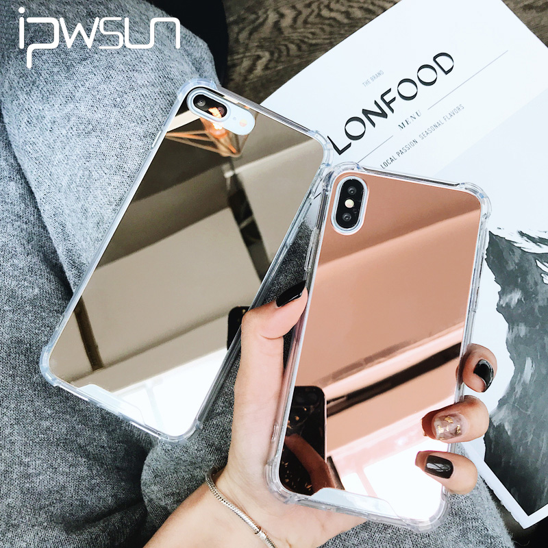 iPWSOO For iPhone 6 6s 7 8 Plus X Phone Case Luxury Electroplate Mirror Shockproof Design Hard PC Phone Case For iPhone 8 Cover