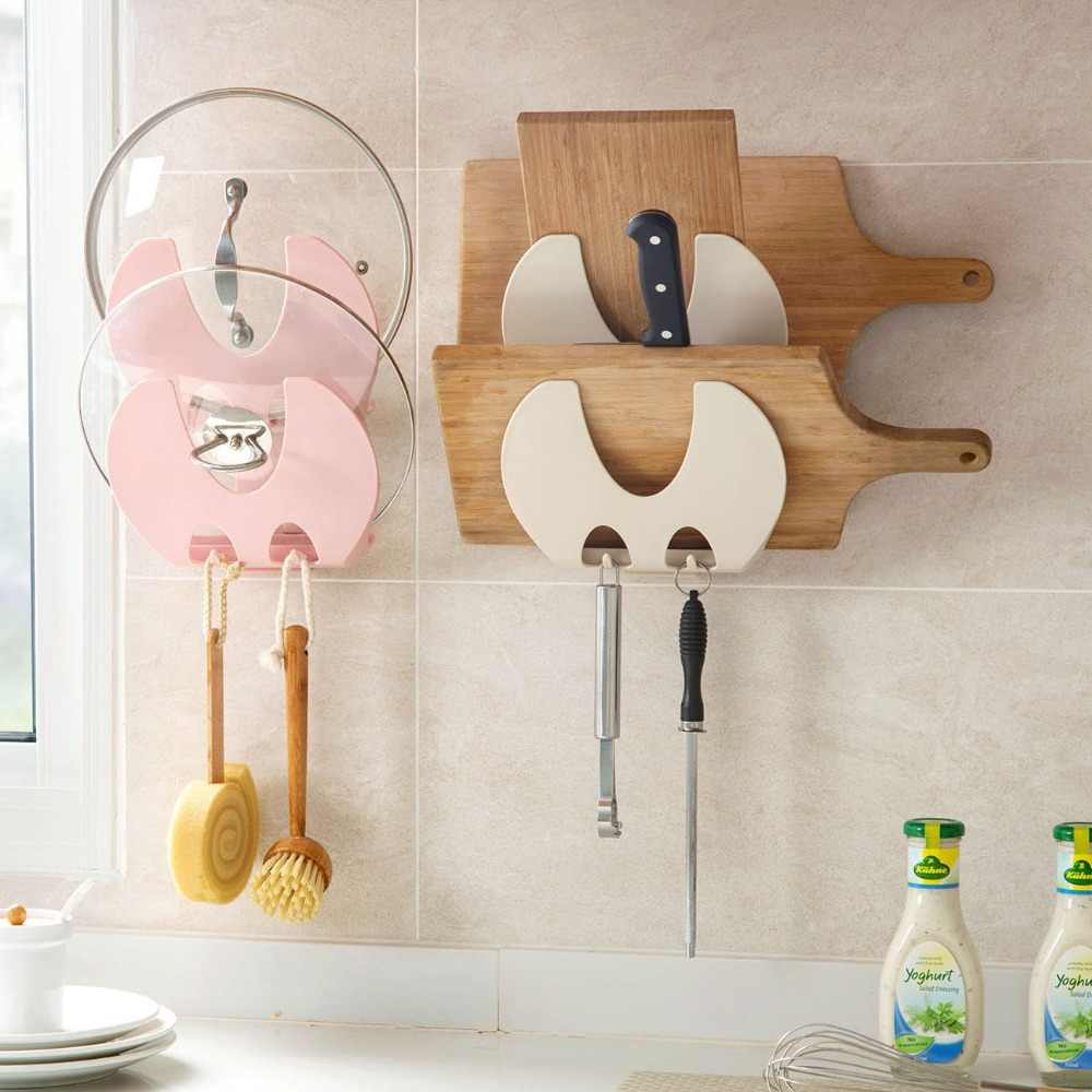 2 Layer Wall Pan Cover Rack Pot Lid Holder Cutting Board Stand Shelf Storage Kitchen Organizer 2 Hooks For Cleaning Brush Tools