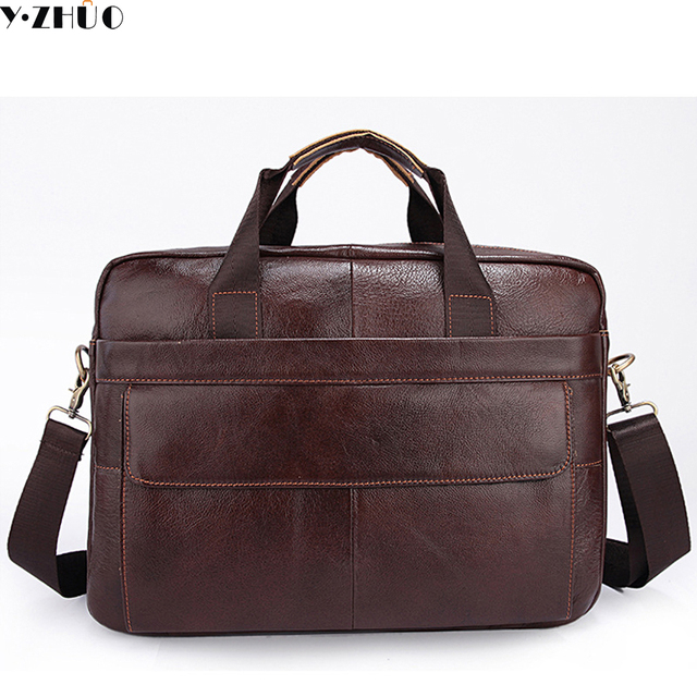 Z H Genuine Leather Mens Briefcase Laptop Bags Men Travel Bag Cowhide Men Shoulder messenger bags Business Man Handbag bolsa