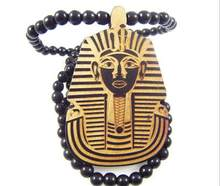 Natural wood the pharaohs of Egypt pendant necklace with long bead chain new fashion for unisex decorate necklace jewelry(China)