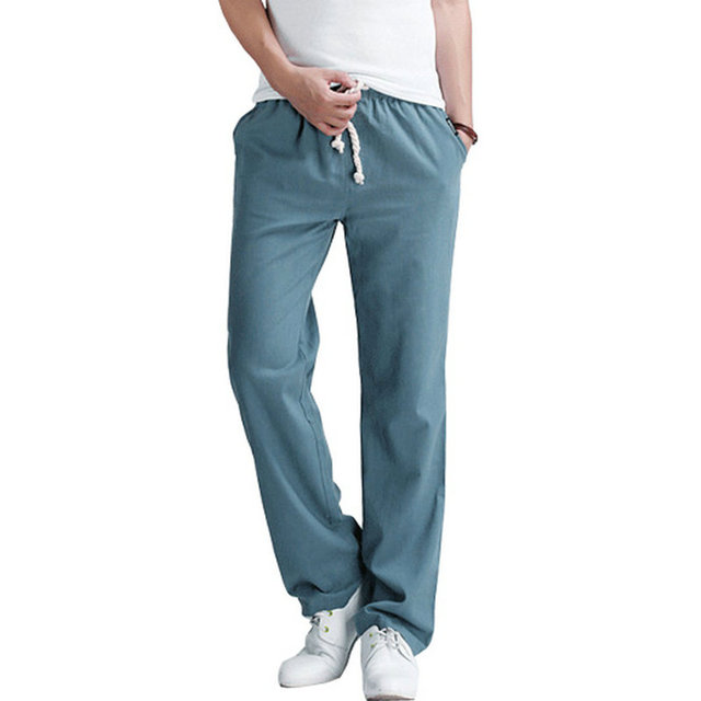 2017 New Arrival Men Leisure Pants Casual Slim Fit Fashion Solid Drawstring Large Size  Linen Pants Men (Asian Size)