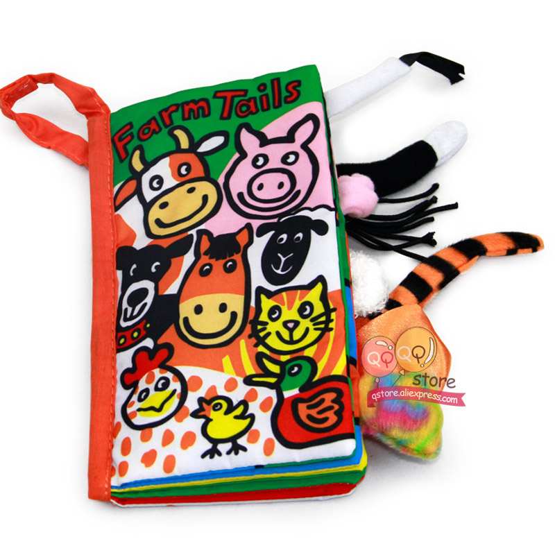 Animal Tails Baby Picture Cloth Books Kids Soft Activity Unfolding Infant  Early Educational Toys for babies 0-12 Month Gift