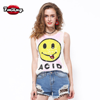 2016 Summer Women Harajuku Cute Smile Face Sequins Street Tank Top Stretchy Punk Tank Top Pink