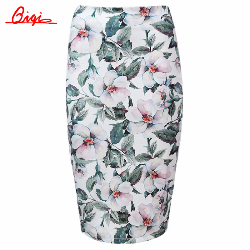 Qiqi высокой талией юбки женская мода распечатать boho стиль chic тонкий юбка-карандаш с девушкой vintage sexy midi юбка весна лето пляж