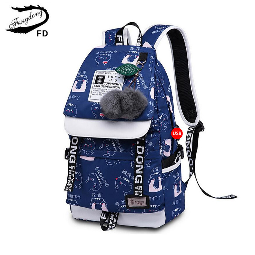 Fengdong Girls School Backpack Fashion Girl Schoolbag Female Korean Style Blue Canvas Cartoon