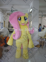 pink hair yellow body small wings elf pony mascot costume cartoon yellow horse mascot costumes MY little pony