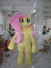 pink hair yellow body small wings elf pony mascot costume cartoon yellow horse mascot costumes MY little pony