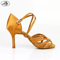 New Model BD 2382 Women Latin Dance Shoes High Slim Heel Dark Tan Satin Ladies Sandal Soft Raw Leather Samba Rumba ChaCha