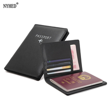 NYHED High Quality Travel Passport Cover Women Pu Leather Bill Ticket Holder Men Small purse