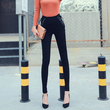2017 avanta-shop Handsome tall waist trousers of cultivate one's morality pure color render pencil pants