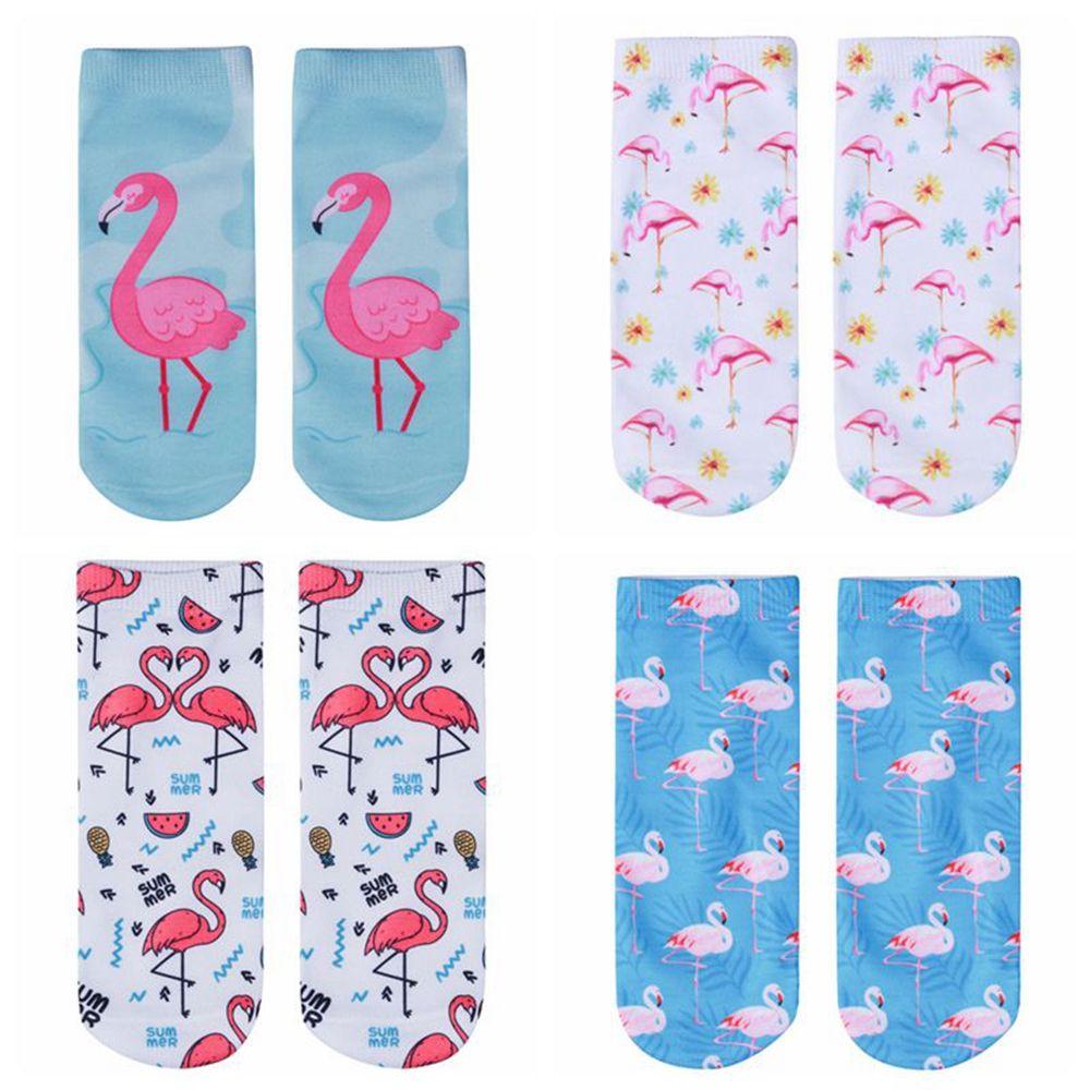 1 Pair New 3D Flamingo Print Casual   Socks   Women Durable   Socks   Cute Low Cut Ankle   Sock   Cartoons Casual Type Teenager   Socks