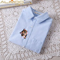 Alimoo Embroidered White Women Shirt kitty cat embroidered shirts blouses vintage long sleeve shirt work wear casual slim tops