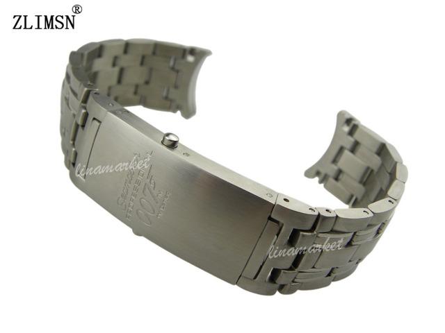 Zlimsn 20mm assista bracelete dos homens de prata pura sólido final curvo SS Escovado Watch Band Pulseiras Pulseiras de Relógio Dos Homens Relógios Dos Homens Da Correia SEA9