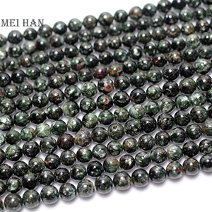 Image 1 - Natural russian seraphinite 6.8 7.5mm (52 beads/set/26g) smooth round stone wholesale beads for jewelry making design