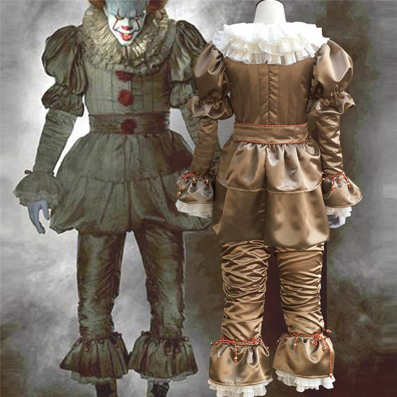 Halloween Group Costumes Scary.Movie Stephen King S It Pennywise Cosplay Costume Scary Joker Suit Adult Fancy Halloween Party Terror Evil Clown Clothes Mask