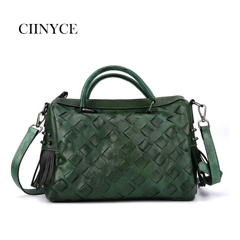 Original Designer Fashion Brand Genuine Cow Leather Women's satchel handbags knitted small totes vintage cowhide crossbody bags new fashion brand designer women s satchel handbags genuine cow leather soft solid zipper female totes shoulder crossbody bags