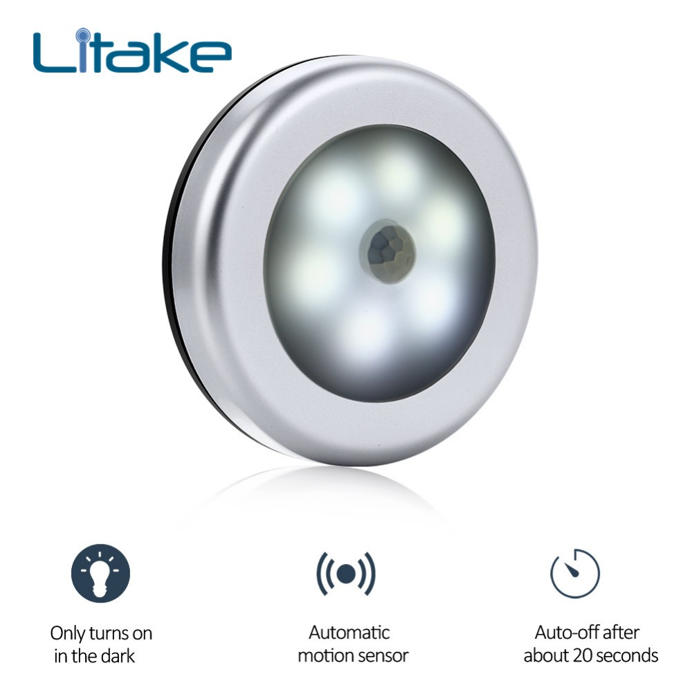цена Litake 1PC PIR Infrared Motion Sensor Light 6Led Night Light Magnetic Wireless Detector Wall Lamp Light Auto On/Off Silver Color