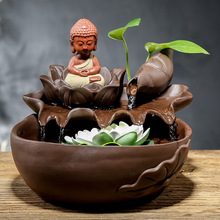 Free shipping  humidifier water flow back indoor household three holy Buddha figures furnishing articles ceramic arts and crafts 2019 limited encens tong qu fo fish plutus home furnishing articles atomizing humidifier manufacturers selling arts and crafts