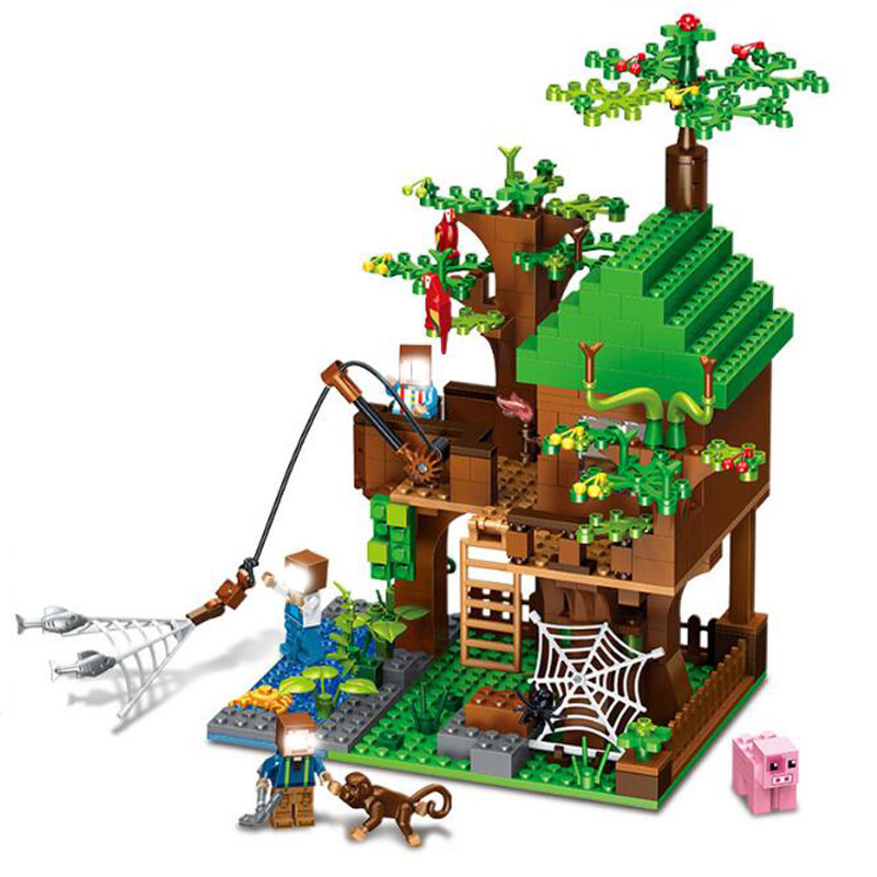 Forest Tree House Model Blocks Toys My World Island Fishing Spider Monkey Compatible Gifts For Kids Building Blocks Set Figure lepin 18003 my world series the jungle tree house model building blocks set compatible original 21125 mini toys for children