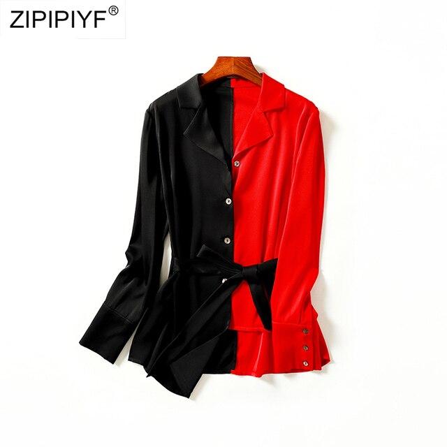 2018 Spring Shirt Women contast pattern Shirt silk Long Sleeve Patchwork Blouse for Girls Top Streetwear Brand Shirt H6237
