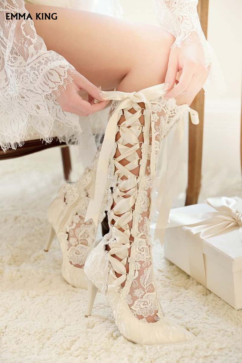 White Talons Chaussures Pour Blanc Lacets Bout Femme 2019new Mujer Mariage Élégant rouge À Côté Botas Mariée Dames Dentelle Pointu Soirée Bottes De aH1PH