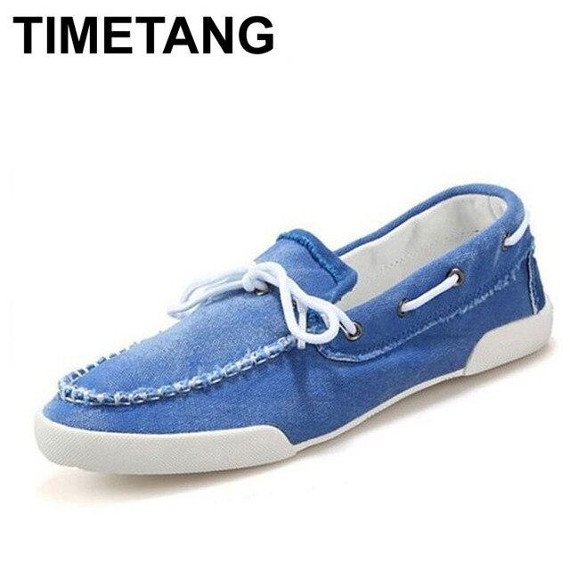 Timetang модные мужские zapato дель лодка повседневная обувь джинсы холст slip on квартиры loafer обувь бесплатная доставка