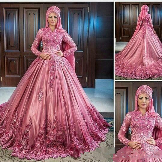 Muslim Luxurious Hand Made Flower Lace Applique High Collar Long Sleeves Satin Wedding Dresses Elegant Classic
