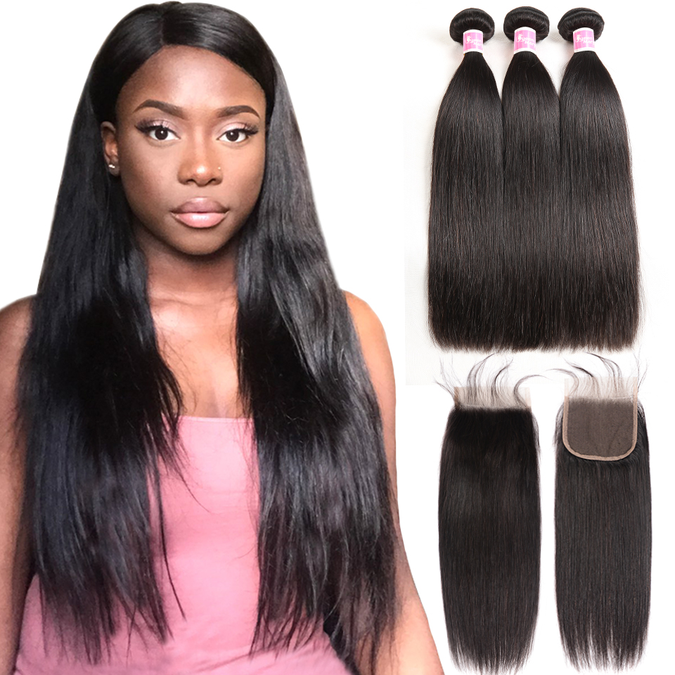 Brasilianska Straight Hair Mänskliga Hår Bundlar Med Stängning - Mänskligt hår (svart)