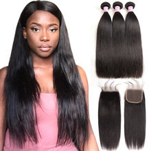 Brasilianska Straight Hair Mänskliga Hår Bundlar Med Stängning Straight Brazilian Hair Weave 3 Bundlar With Closure Queen Mary Non Remy