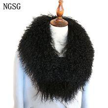 NGSG женский меховой воротник из натуральной монгольской овцы, настоящий меховой шарф, зимний воротник из натуральной шерсти, одноцветные женские длинные воротники ML115