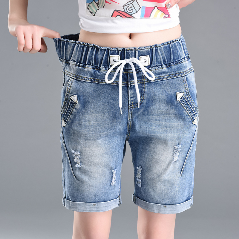 High Waist Jeans  Women Pants High Waist Elastic Straight Shorts Women Denim Jeans Fashion Casual Pants Womens Clothing