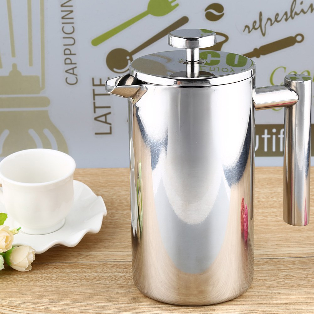 2016 Newest High Quality Insulation Design Polish Process 1000ML Stainless Steel Cafetiere French Press With Filter