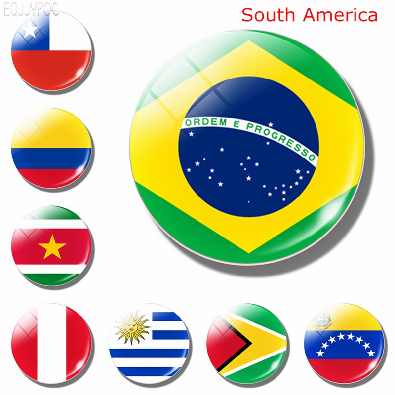 South American National Flag 30MM Glass Fridge Magnets Brazil Colombia Peru Chile Ecuador Magnetic Refrigerator Stickers Decor