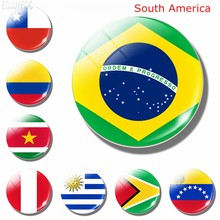 South American National Flag 30MM Glass Fridge Magnets Brazil Colombia Peru Chile Ecuador Magnetic Refrigerator Stickers Decor(China)