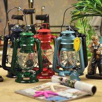 35CM Mediterranean Style Vintage Portable Lantern Kerosene Alcohol Lamp Wrought Iron Zakka Candle Holders Outdoor Lamps