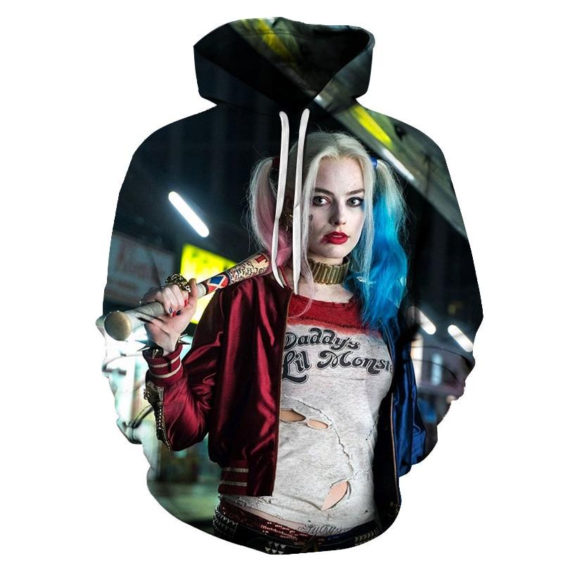 New Anime GIRL Quinn Sweatshirt Fashion Men Women Long Sleeve Hoodie Streetwear DC Comics 3D Printed Hoodies Men Hip Hop 2019