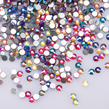 Non Hotfix Ab Crystal Rhinestones Decoration 3d Flatback For Nails Glitter Round Glass Shapes Z115