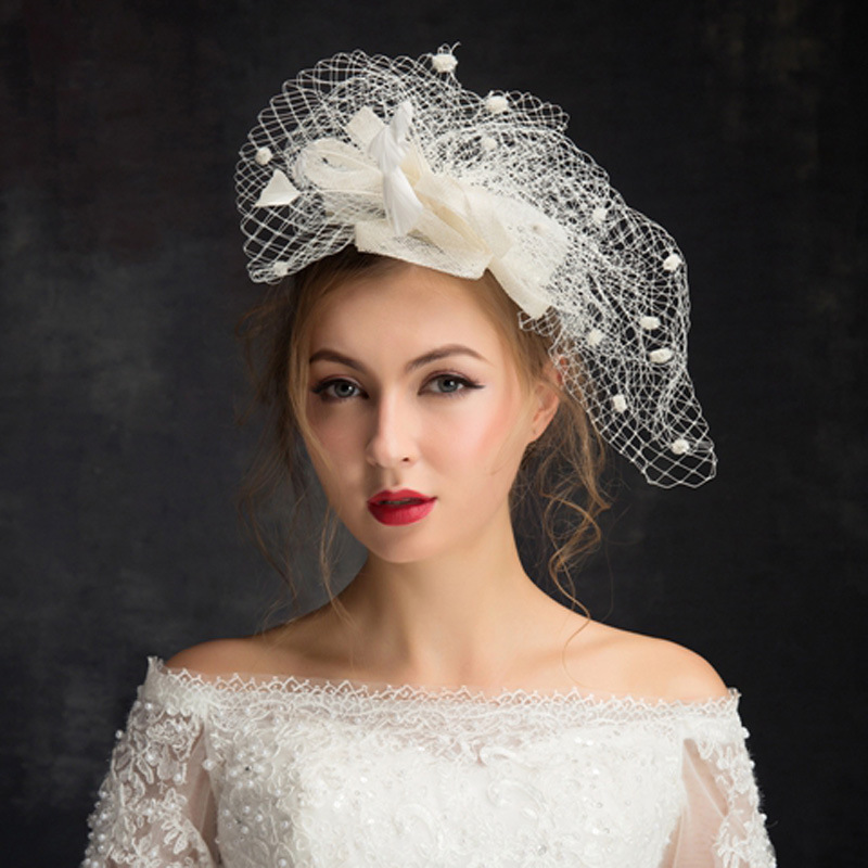 2018 New Fashion Bridal Hat Wedding Accessories White Head