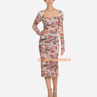 Брендовые дизайнерские подиумные платья 2018 Высокое качество Элегантный Роуз цветочные печатных до середины икры платье трапециевидной фо