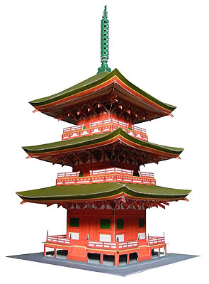 Famous Construction - Japanese Famous Grass Shrine Triple Tower Paper Model