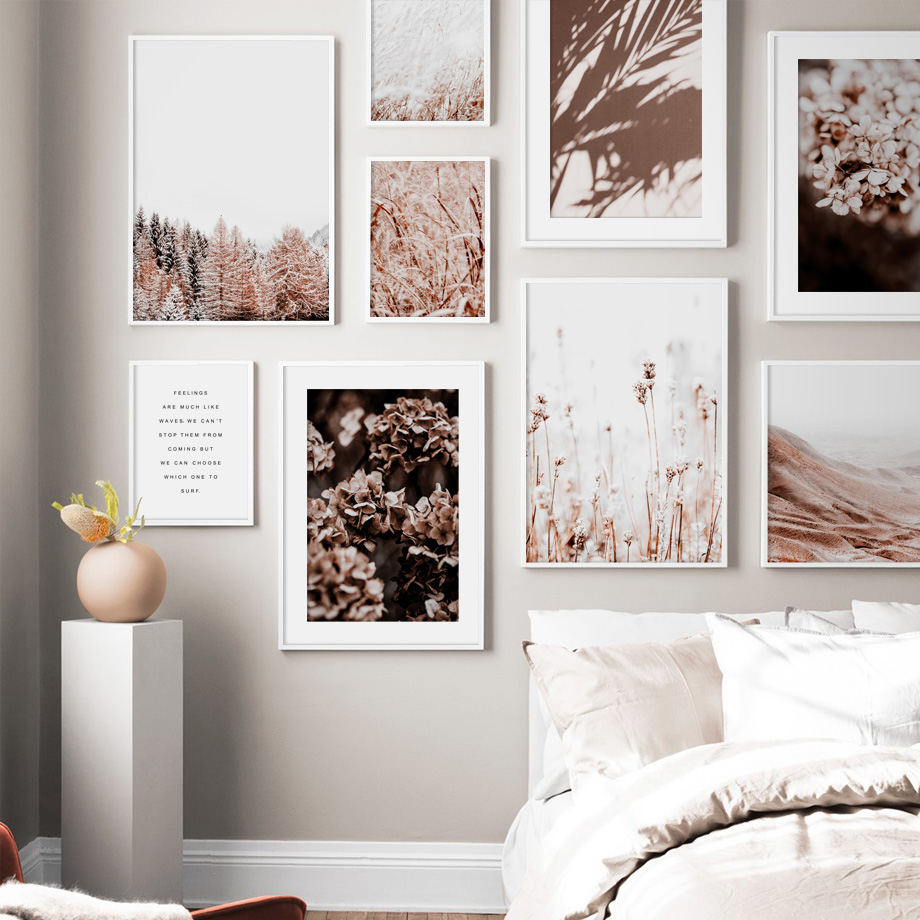 Flower Leaf Forest Wheat Plant Dune Farm Nordic Posters And Prints Wall Art Canvas Painting Wall Pictures For Living Room Decor