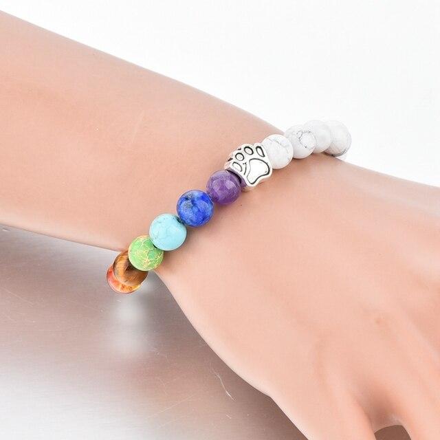 Фото браслет для йоги chicvie лапа натуральный камень бусина эластичный