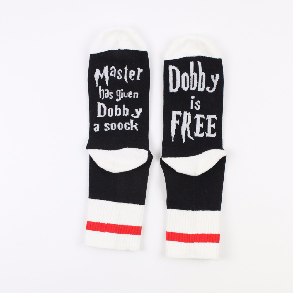 1 pair Master has <font><b>given</b></font> Dobby a Socks summer spring style of Women Funny unisex for Cotton casual cotton letters socks Man Meias image
