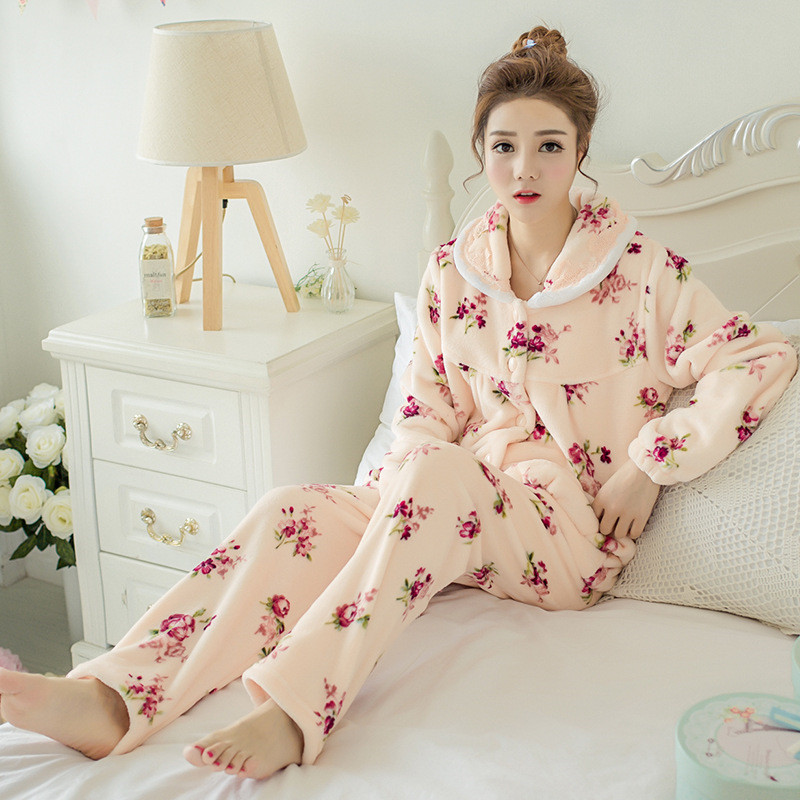 JULY'S SONG Winter Pajamas Set Women Sleepwear Warm Flannel Long Sleeves Pajamas Pink Cute  Animal Homewear Thick Home Suit