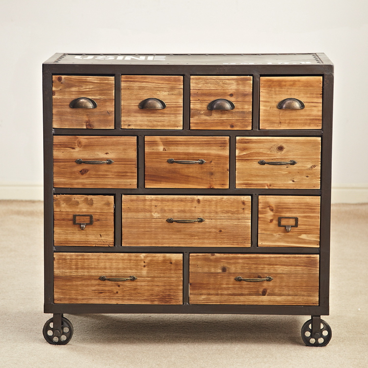 Car Garage Loft Retro Style: European Style Loft Furniture 12 Drawer Cabinet Storage